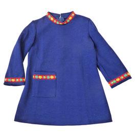 Mädchenkleid lA dunkelblau Bordüre 70s NEU 3-4 J