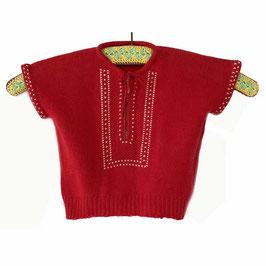 Baby-Pullover 50s handgestrickt rot mit Stickerei 1/2 bis 1 Jahr VINTAGE 1950s