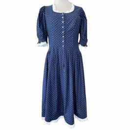 Kleid Dirndl Gr. 40/42 dunkelblau mit weissen Spitzen VINTAGE 1970s Made in Germany