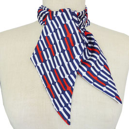 Schal Seide Haarband VINTAGE weiss-rot-dunkelblau 1970s 90 x 10.5 cm
