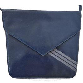 Umhängetäschchen Leder 80s BALLY blau mit grauen Streifen