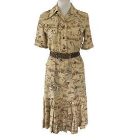 Kleid Gr. L kurze Ärmel Baumwolle beige Erntesujets VINTAGE 1980s