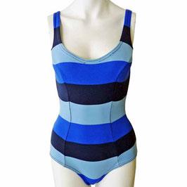 Badekleid Gr. S Badeanzug 60s blau breite Streifen