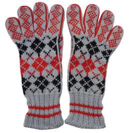 Handschuhe Gr. S Strick grau-schwarz-rot Fingerhandschuhe Norweger VINTAGE 1950s handgestrickt