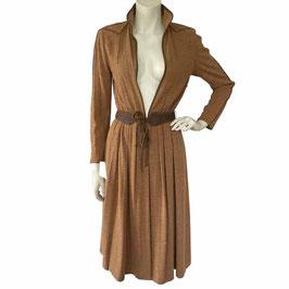Kleid Gr. S LOUIS FERAUD Designer braun Jersey Bindegürtel VINTAGE 1970s