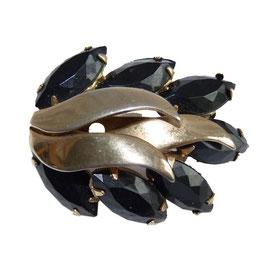 Brosche silberfarben mit schwarzen Jett-Steinen 1950s VINTAGE