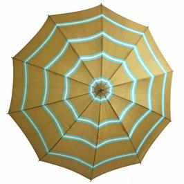 Schirm Damenschirm moutarde türkis gestreift VINTAGE 1960s mit Futteral
