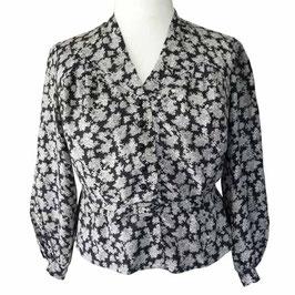 Bluse Seide Gr. XXL mit kleinem Stoffgurt schwarz-weiss Blütendruck VINTAGE 1940s 1930s