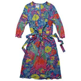 Kleid Gr. M/L lange Ärmel VINTAGE 1970s bunt transparent Blumen Jersey