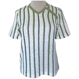 Pullover VINTAGE ecru-grün Streifen NOS Gr. M/L