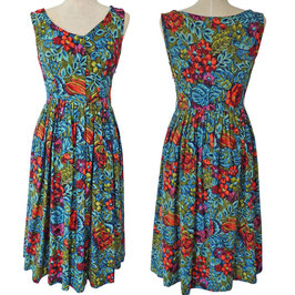 Kleid Gr. S ärmellos VINTAGE 1950s Fifties bunt geblumt