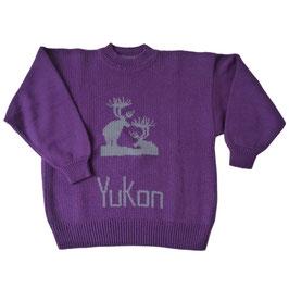 Pullover Gr. XS/S/M Damen violett YUKON Hirsche VINTAGE 19080s