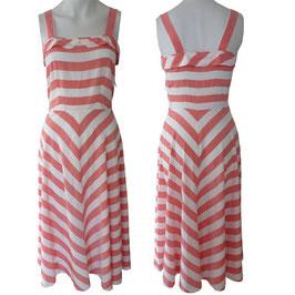 Kleid Trägerkleid VINTAGE 1930s rot-weiss Streifen biais cut S/M
