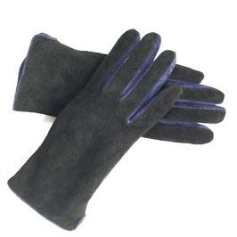 Handschuhe Gr. S/M Leder schwarz gefüttert Velours mit blau VINTAGEV 1990s