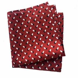 Poschettli Pochette BAumwolle Einstecktuch rot mit Rhombenmüsterchen VINTAGE