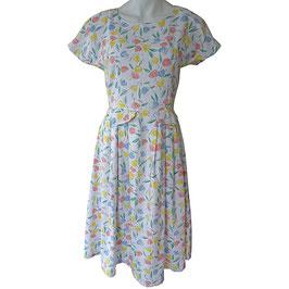 Kleid Gr. S/M Baumwolle weiss VINTAGE 1970s Tulpenmuster