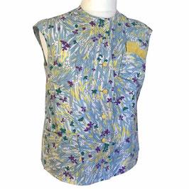 Bluse Gr. XL/XXL Baumwolle ohne Ärmel VINTAGE 1950s hellblau-bunt
