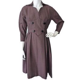 Kleid Gr. S/M braun-schwarz gestreift VINTAGE 1950s