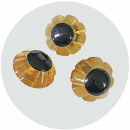 Knöpfe 3 Stk. honiggelb mit schwarzem Top