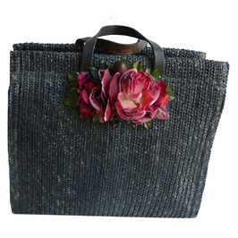 Strohtasche schwarz mit Stoffblume