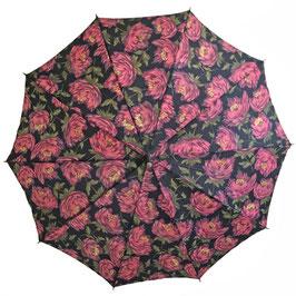 Schirm Damenschirm Rosen VINTAGE ca. 1980s mit Holzgriff