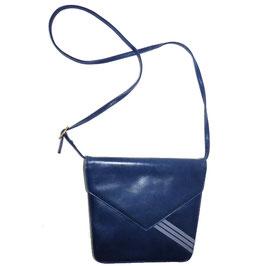 Umhängetäschchen Leder BALLY blau mit grauen Streifen VINTAGE 1980s