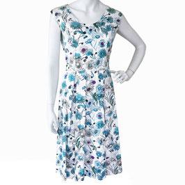 Kleid Gr. S/M ärmellos weiss mit blauen Margeriten VINTAGE 1960s