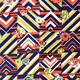 Stoff Baumwolle 3.00m (0.90m breit)  grafisches Muster blau-weiss-orange-rot-grün VINTAGE 1970s