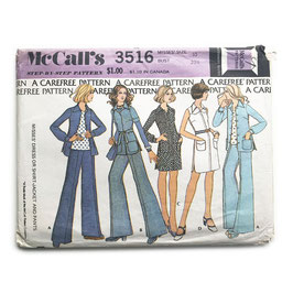Schnittmuster McCalls Hosenanzug mit Schlaghose und Kleid Vintage 1970s Gr. XS