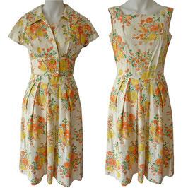 Kleid Ensemble Sommer Baumwolle VINTAGE 1950s Kleid Bolero Gr. S/M