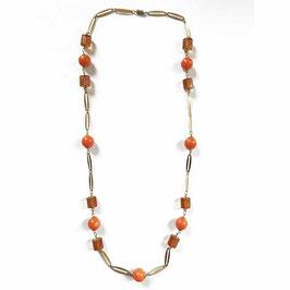 Halskette goldfarben mit orange Drehverschluss VINTAGE 1960s