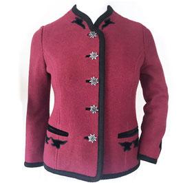 Jacke Trachtenjacke rot COUTURE gefilzt Filz mit Samtdeko schwarz Edelweissknöpfe Gr. S