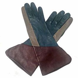 Handschuhe Damen Gr. M/L Luxus Leder Colourblocking VINTAGE 1980s