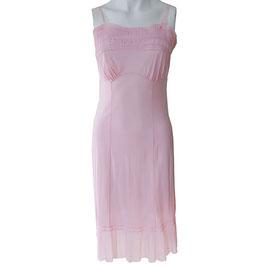 Unterrock Slipdress rosa Plissee 50s Nylon S/M