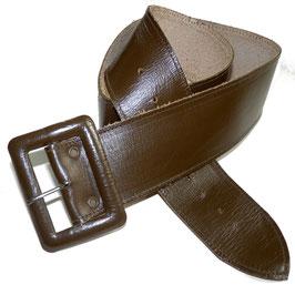 Gürtel breit VINTAGE 1960s braun  lederbezogene Schnalle 80 cm