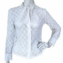 Bluse Gr. S/M Spitzenbluse Baumwolle mit separater Schluppe VINTAGE 1970s