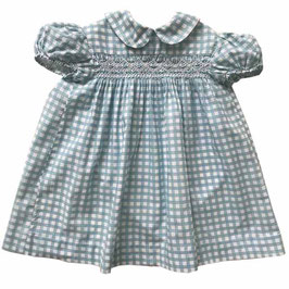 Mädchenkleidchen 2-3 Jahre Vichykaro blau mit Smokverzierung VINTAGE 1950s