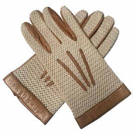 Handschuhe Damen Gr. L Leder mit Strick VINTAGE 1940s