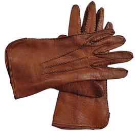 Handschuhe Gr. M Leder braun ungefüttert VINTAGE 1950s Handnähte