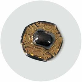Knopf Glas gold mit schwarzer Mitte