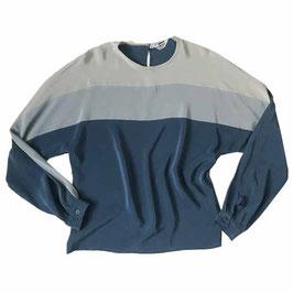 Bluse Seide Gr. S modissa Colour Blocking blau-hellblau-hellgrau VINTAGE 1970s