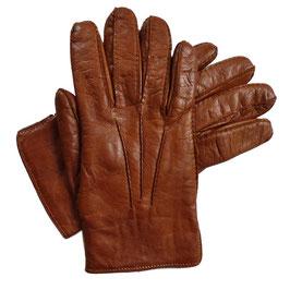 Handschuhe Gr. S/M Leder braun gefüttert VINTAGE 1970s  rehbraun