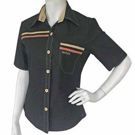 Bluse Gr. S kA Baumwolle farfalla schwarz mit Streifen VINTAGE 1970s