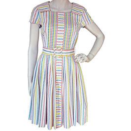 Kleid Gr. XS/S Sommerkleid VINTAGE 1950s BW mit Webstreifen