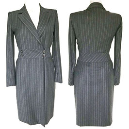Kleid Gr. S AKRIS Nadelstreifen Wolle Designer VINTAGE Wrap Dress