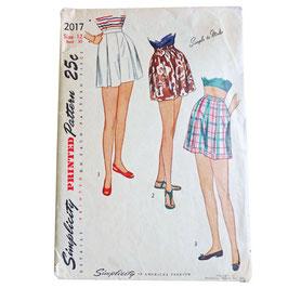 Schnittmuster SIMPLICITY Vintage 1950s Shorts weit mit Falten Gr. S