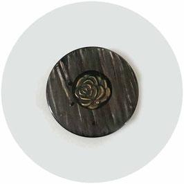 Knopf schwarz-braun mit Rose