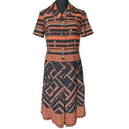 Kleid Gr. M/L Streifen VINTAGE  1970s orange-schwarz