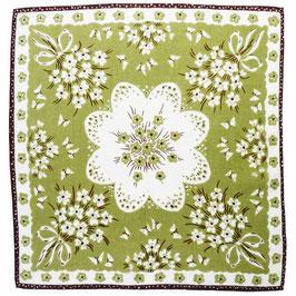 Taschentuch Damen-Taschentuch VINTAGE 1950s grün-weiss NEU aus altem Bestand