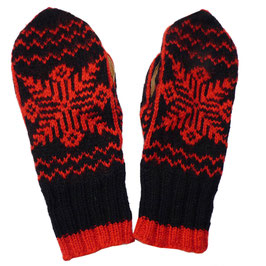 Handschuhe Gr. S Strick schwarz-rot Norweger VINTAGE 1960s handgestrickt
